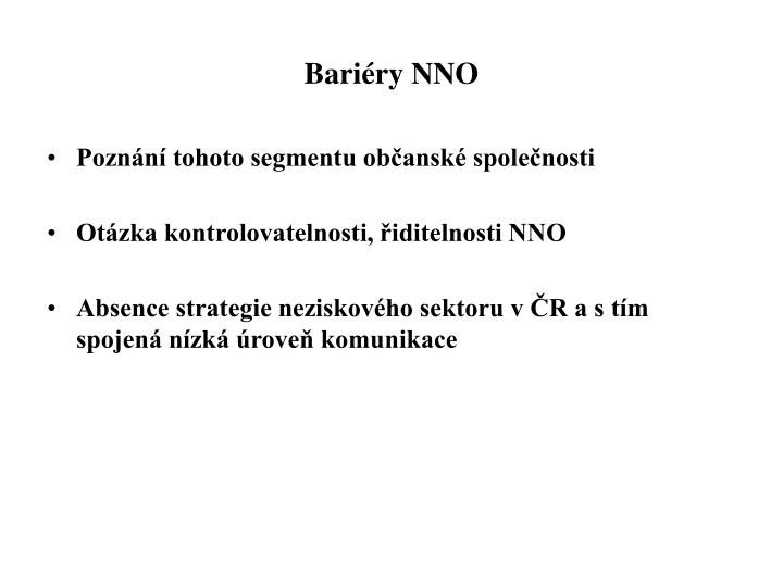 Bariéry NNO