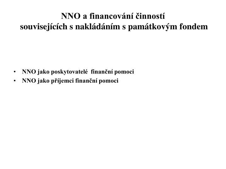 NNO a financování činností