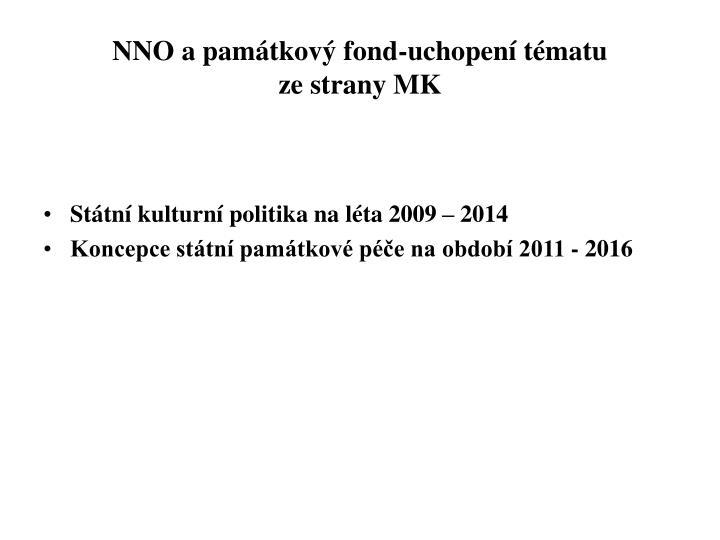 NNO a památkový fond-uchopení tématu