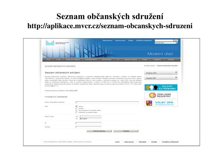 Seznam občanských sdružení