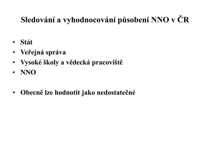 Sledování a vyhodnocování působení NNO v ČR