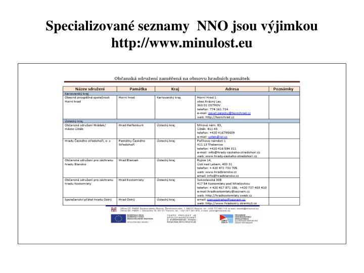Specializované seznamy  NNO jsou výjimkou