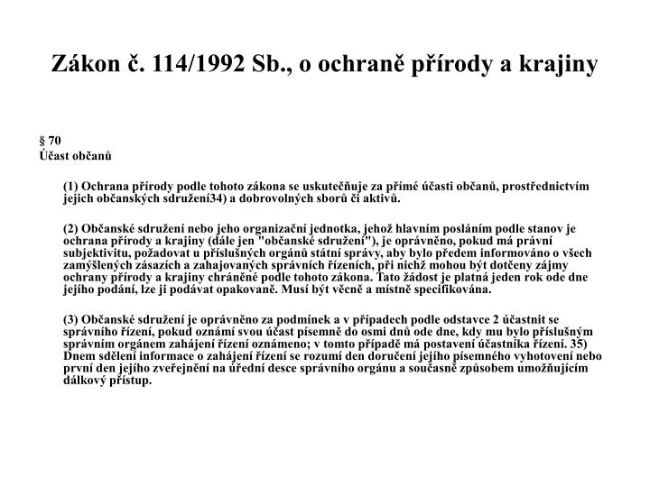 Zákon č. 114/1992 Sb., o ochraně přírody a krajiny