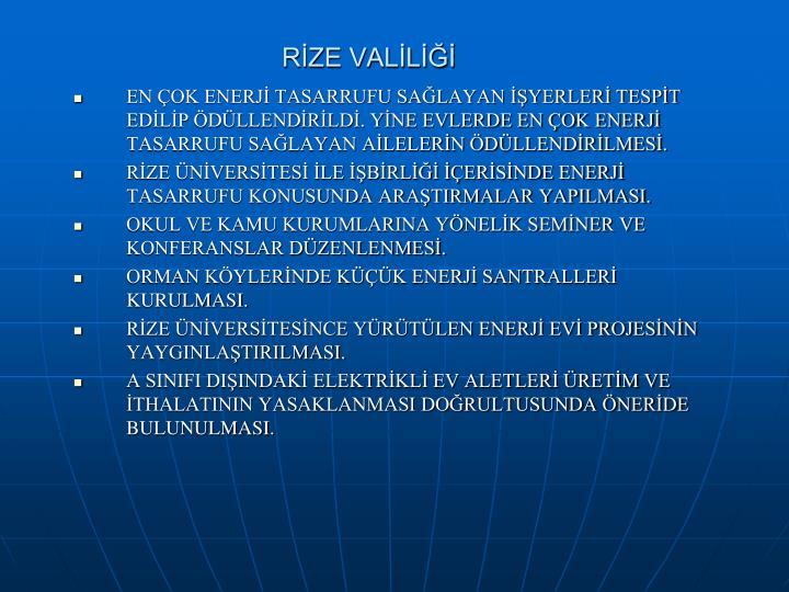 RİZE VALİLİĞİ