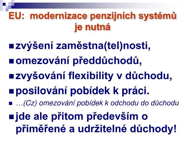 EU:  modernizace penzijních systémů je nutná