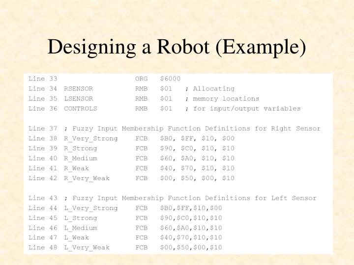 Designing a Robot (Example)