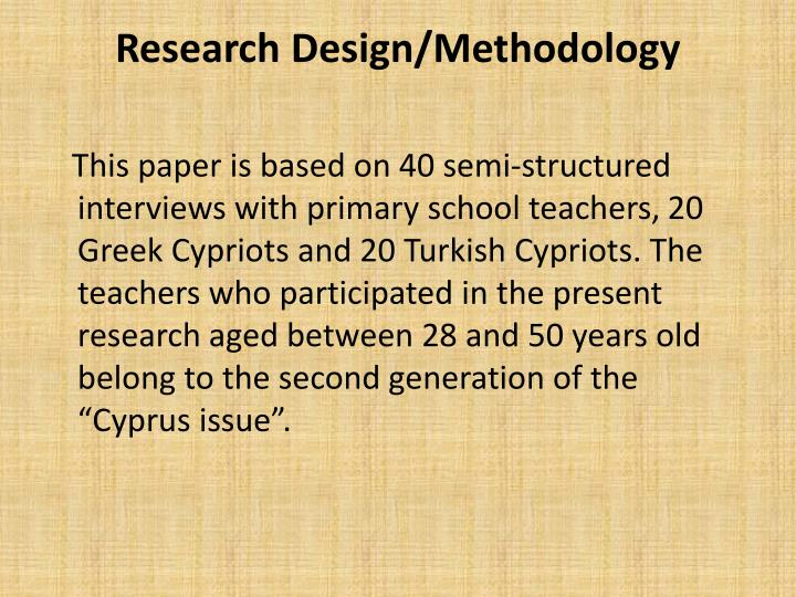 Research Design/Methodology