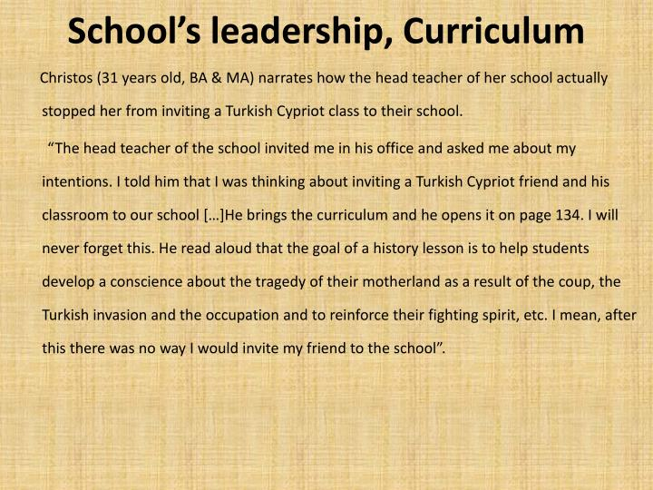 Schools leadership, Curriculum