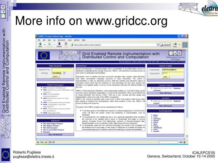 More info on www.gridcc.org