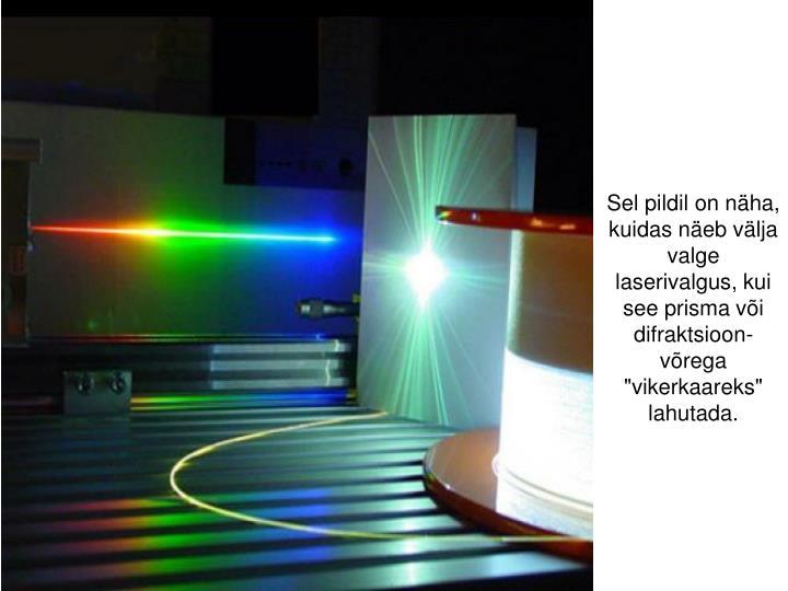 """Sel pildil on näha, kuidas näeb välja valge laserivalgus, kui see prisma või difraktsioon-võrega """"vikerkaareks"""" lahutada."""