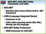ado net ado net entity framework and linq