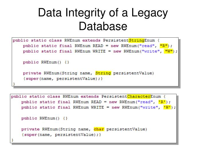 Data Integrity of a Legacy Database