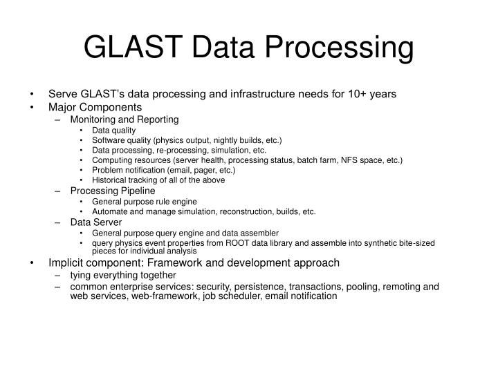 GLAST Data Processing