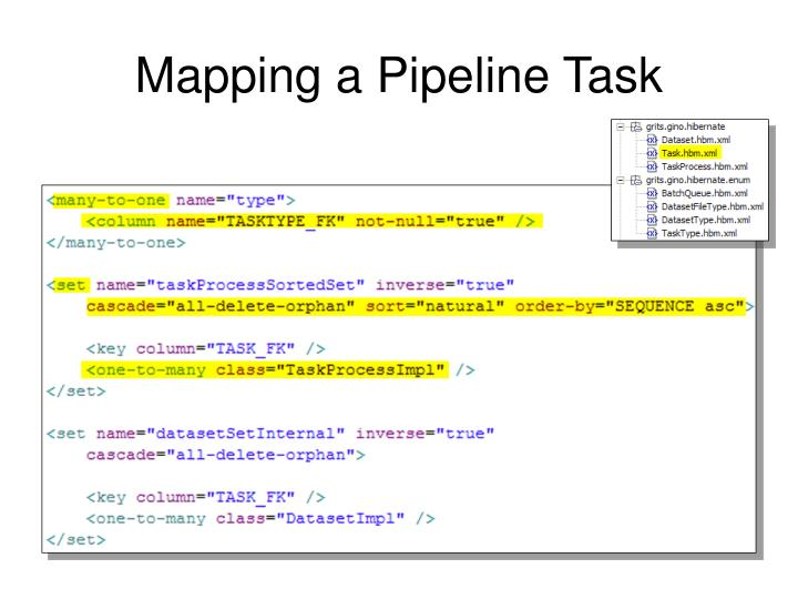 Mapping a Pipeline Task