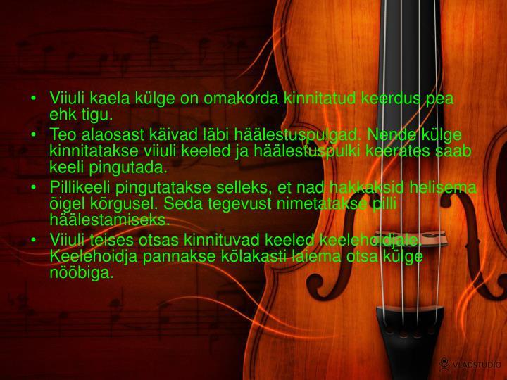 Viiuli kaela külge on omakorda kinnitatud keerdus pea ehk tigu.