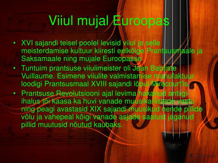 Viiul mujal Euroopas