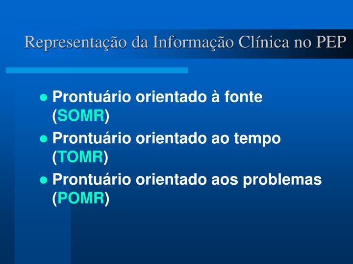 Representação da Informação Clínica no PEP