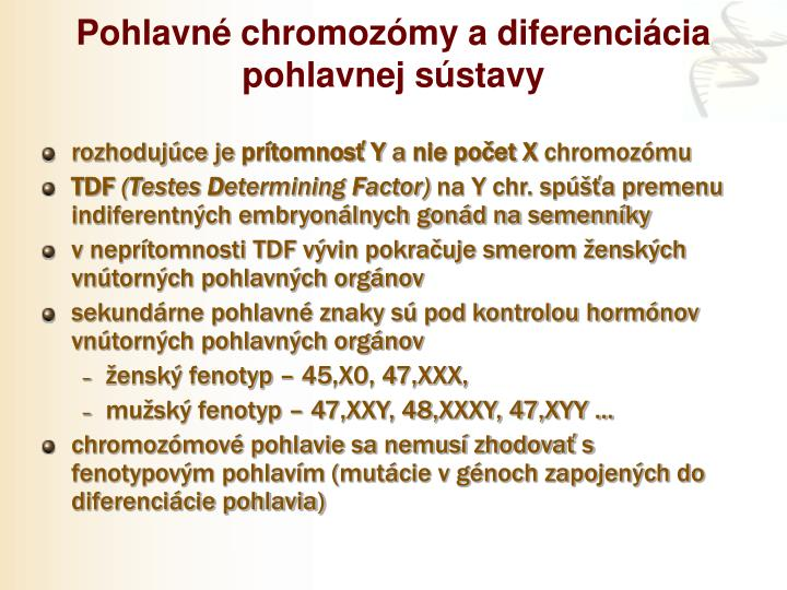 Pohlavné chromozómy a diferenciácia pohlavnej sústavy