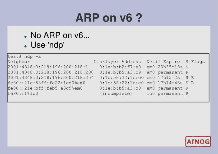 ARP on v6 ?