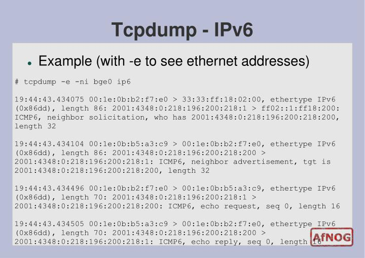 Tcpdump - IPv6