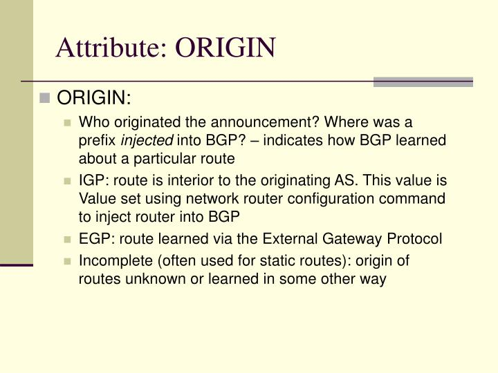 Attribute: ORIGIN