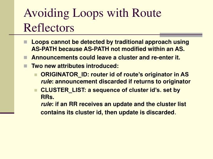 Avoiding Loops with Route Reflectors