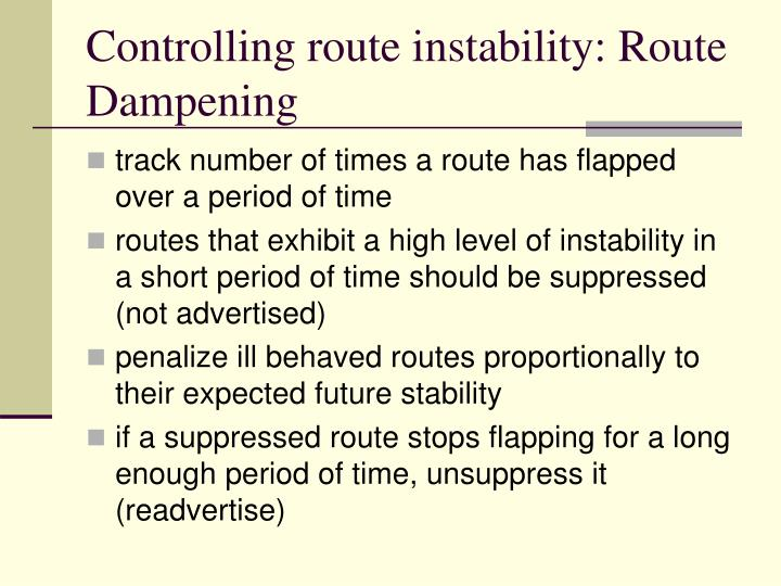 Controlling route instability: Route Dampening