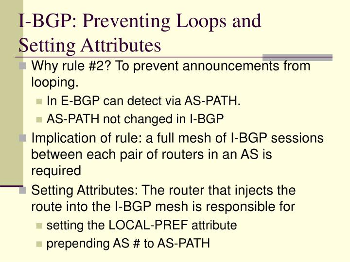 I-BGP: Preventing Loops and Setting Attributes