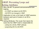 i bgp preventing loops and setting attributes