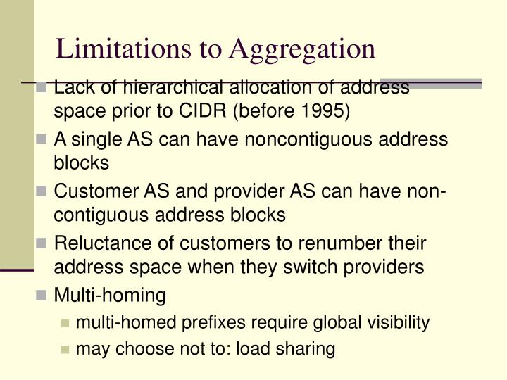Limitations to Aggregation