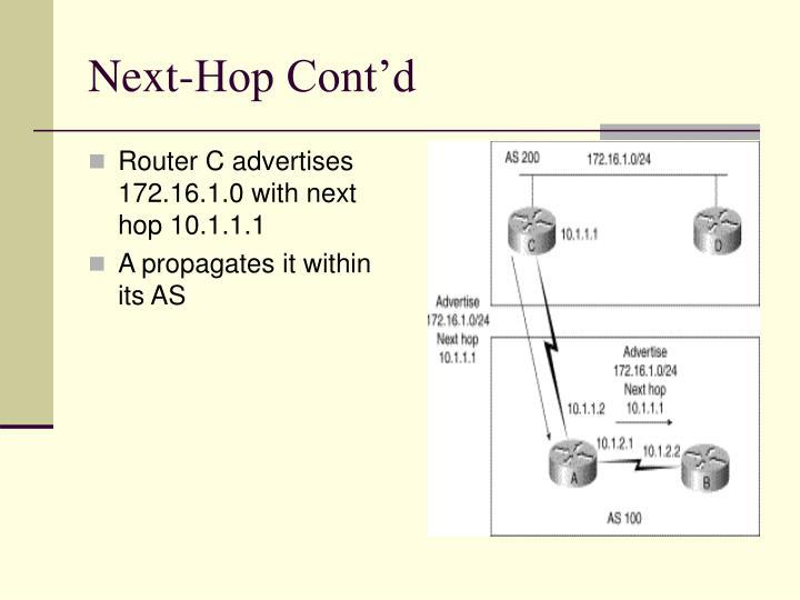 Next-Hop Cont'd