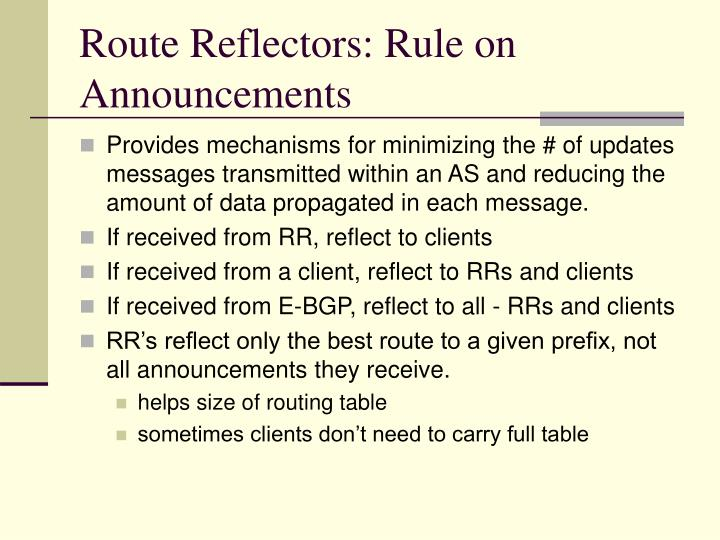 Route Reflectors: Rule on Announcements