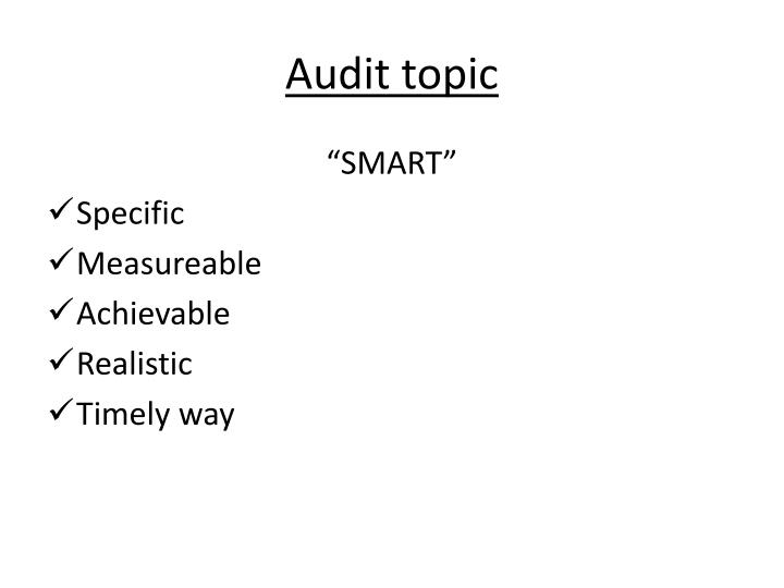 Audit topic