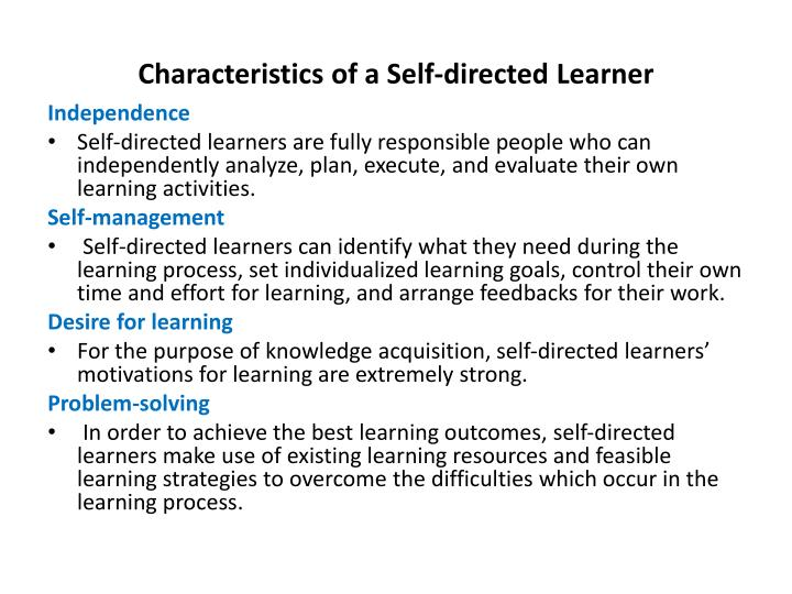 Characteristics of a Self-directed Learner