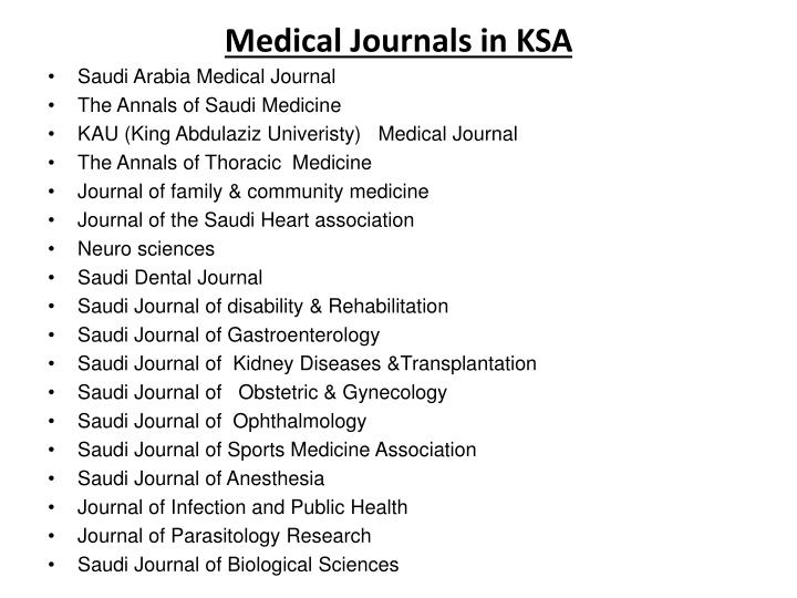 Medical Journals in KSA
