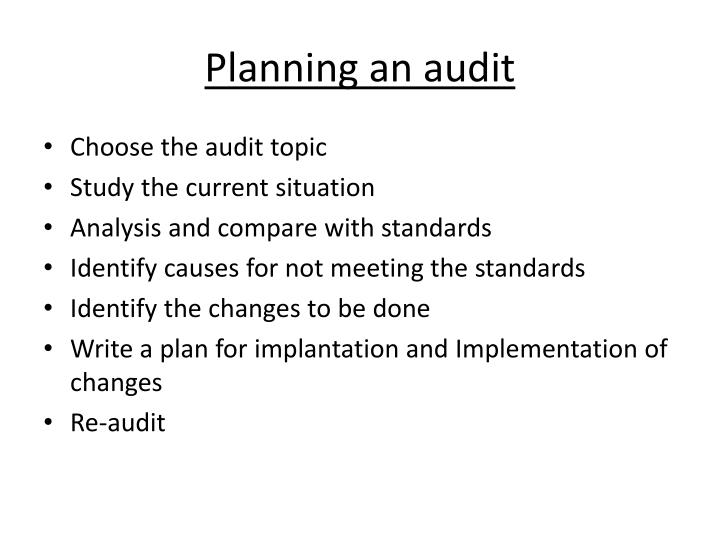 Planning an audit