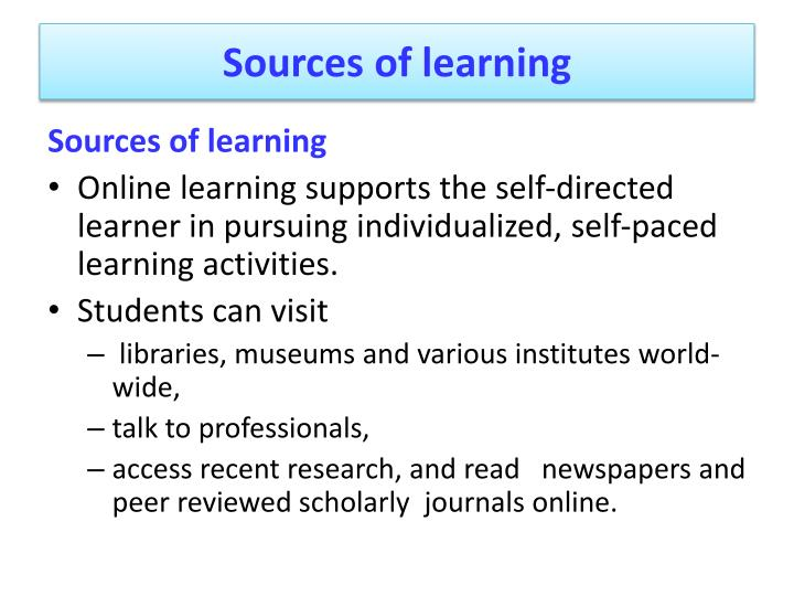 Sources of learning