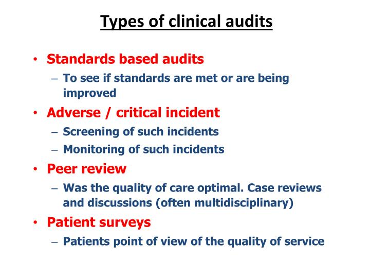 Types of clinical audits