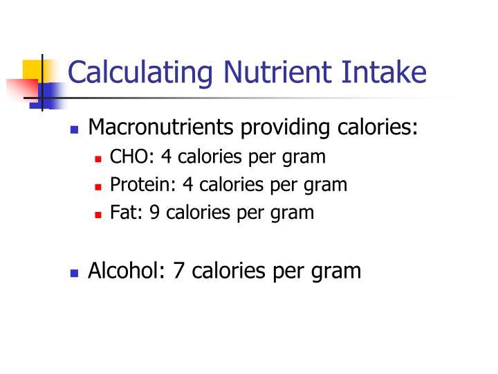 Calculating Nutrient Intake
