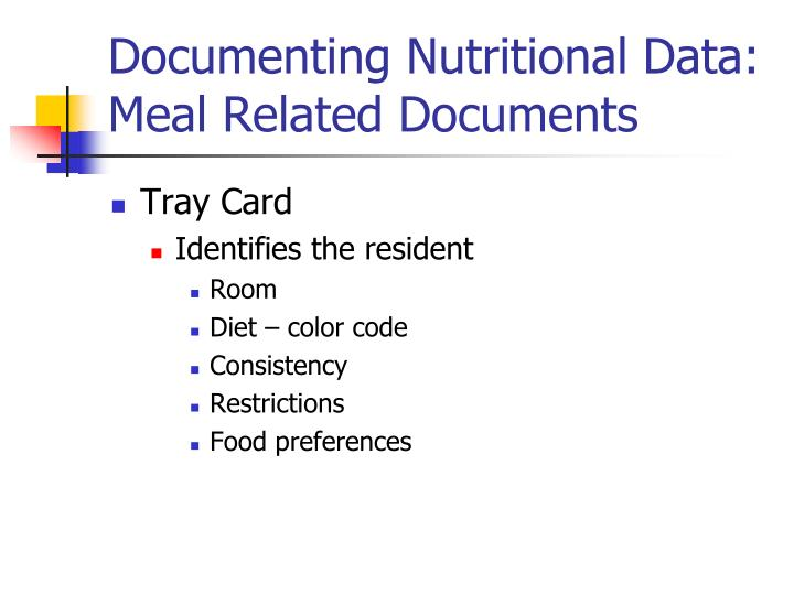 Documenting Nutritional Data: Meal Related Documents