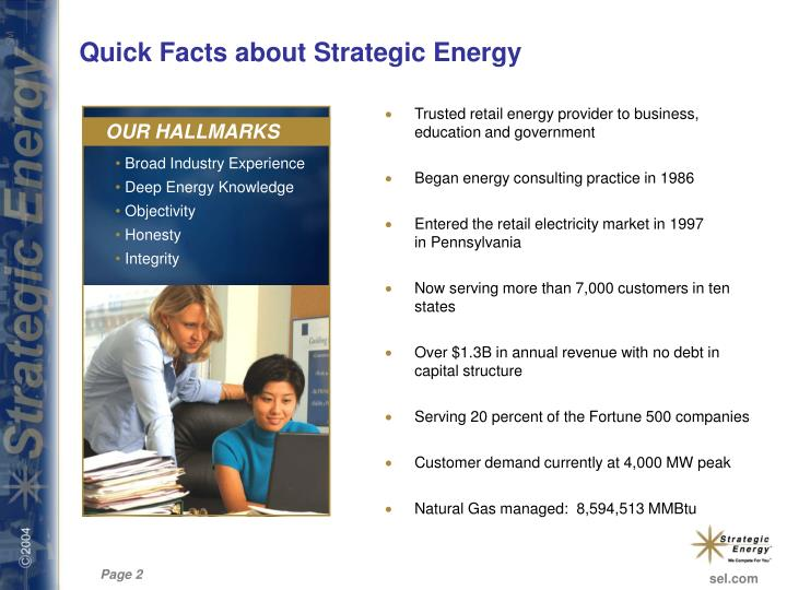 Quick facts about strategic energy