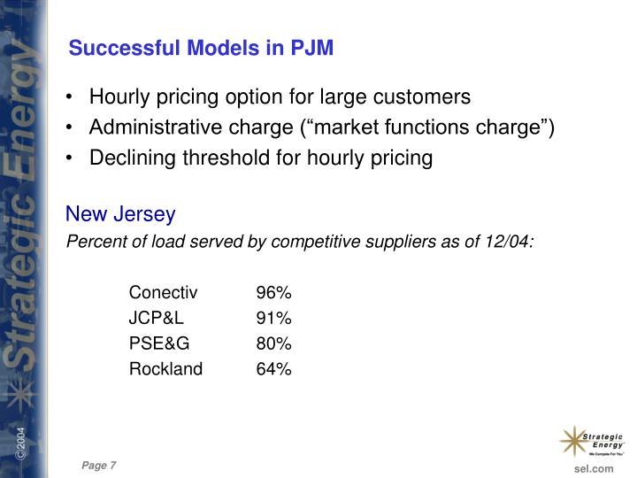 Successful Models in PJM