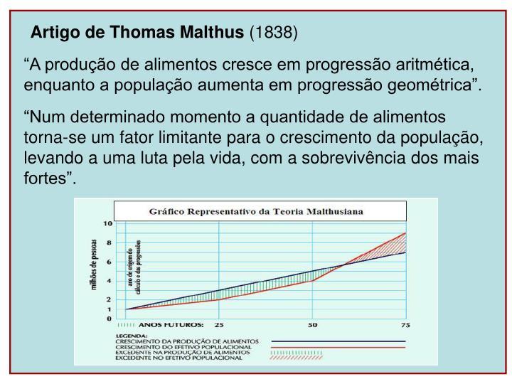 Artigo de Thomas Malthus