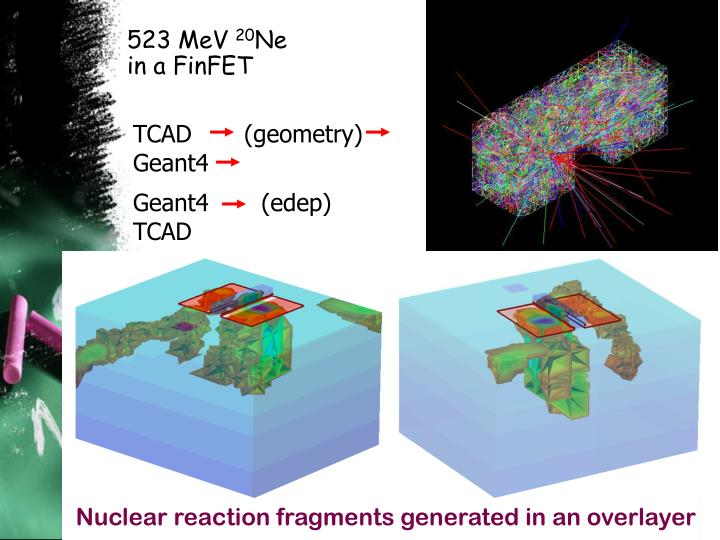Nuclear reaction fragments generated in an overlayer