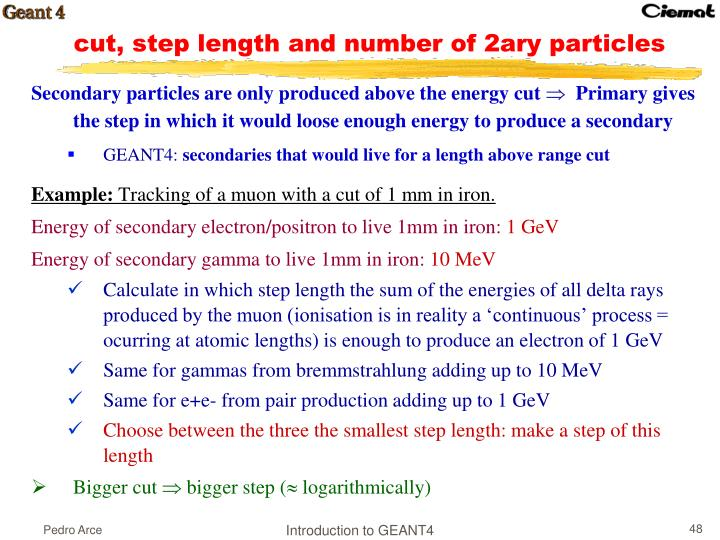 Secondary particles are only produced above the energy cut