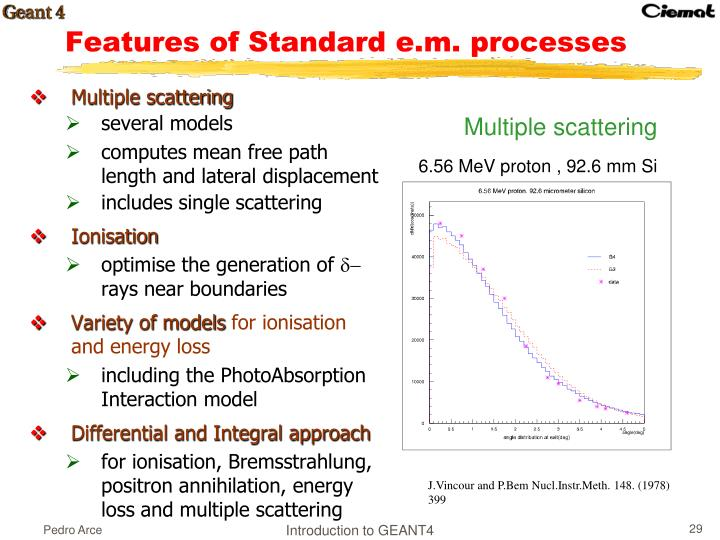 Features of Standard e.m. processes