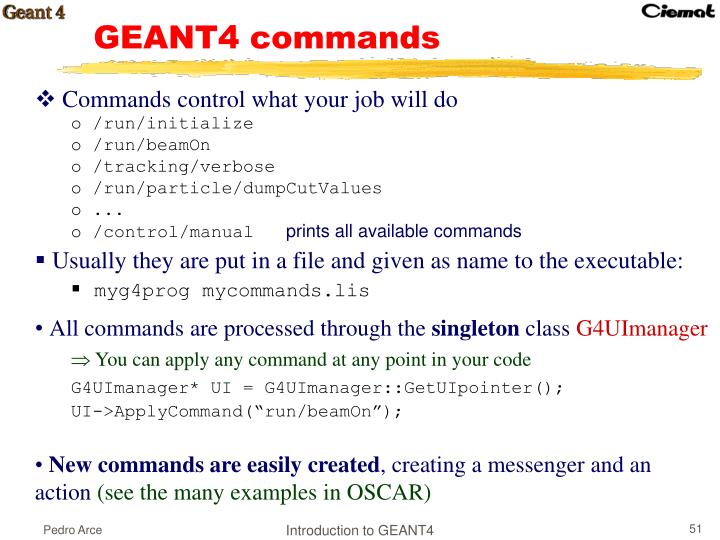 GEANT4 commands