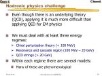 hadronic physics challenge