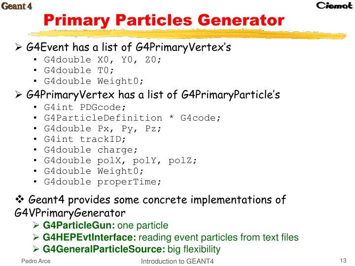 Primary Particles Generator