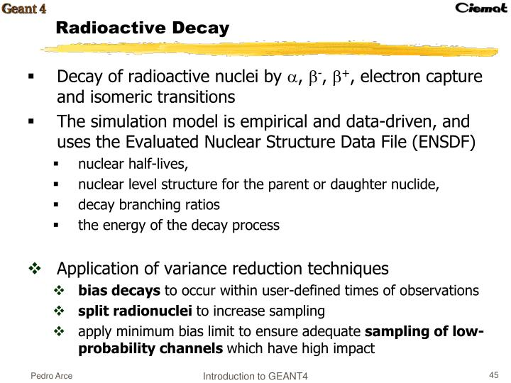 Decay of radioactive nuclei by